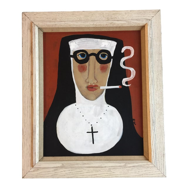 "Rose Walton ""Smoking Nun"" Original Painting - Image 1 of 5"