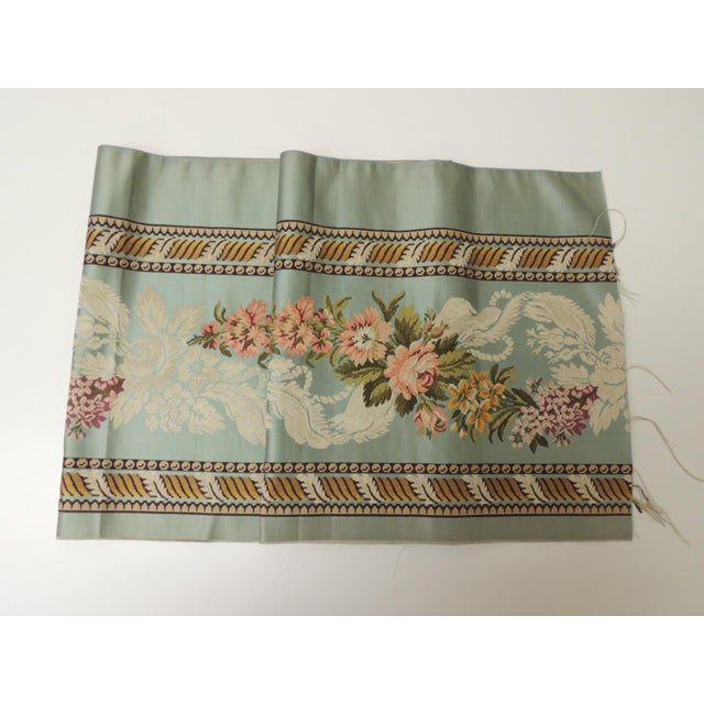 Metal 18th Century French Floral Green and Pink Silk Brocade Textile For Sale - Image 7 of 7
