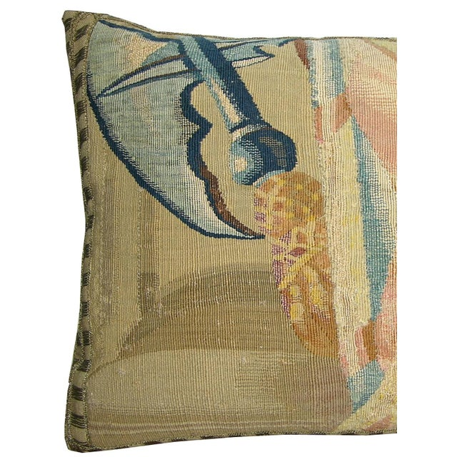 17th Century Antique Brussels Tapestry Pillow - 20'' X 14'', Needlework and Handmade, Brussels.
