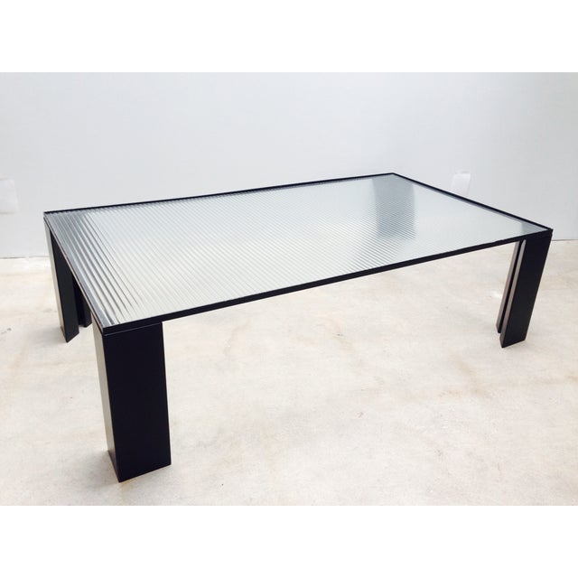 Italian Black Cocktail Table with Rib Glass Top For Sale In Los Angeles - Image 6 of 9
