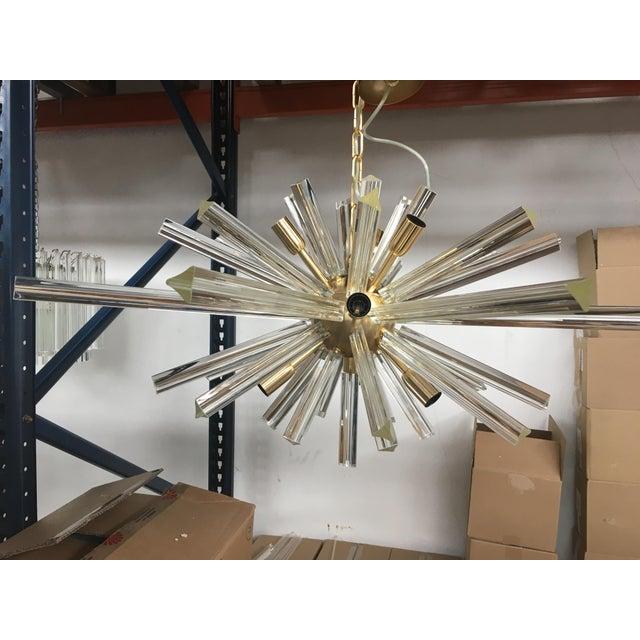 "Murano glass triedo sputnik gold brushed metal frame chandelier. diameter = 37.4"" height = 17.8"" 9 bulbs e12 spare parts..."