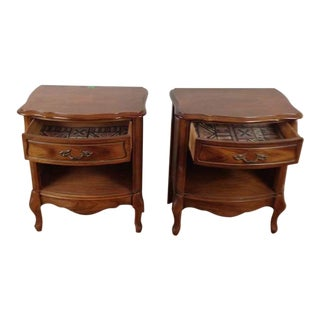 Wood Single Drawer Nightstands - A Pair