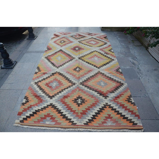 Vintage Turkish Kilim Rug - 5′4″ × 10′7″ - Image 6 of 6
