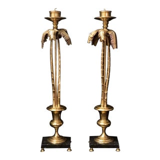Palm Tree Candle Holders Decorative Crafts Solid Brass Tall - Vintage - a Pair For Sale