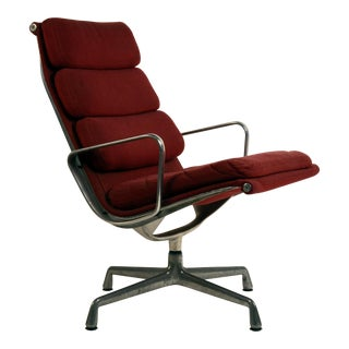 1950s Vintage Eames for Herman Miller Burgundy Ea 216 Soft Pad Swiveling Lounge Chair For Sale