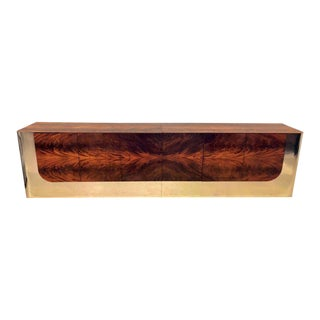 Monumental Sideboard of Chrome and Burl Wood by Pace Collection For Sale