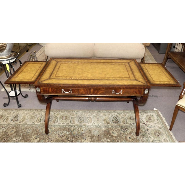 Regency Maitland Smith Regency Style Leather Top Mahogany Writing Desk For Sale - Image 3 of 11