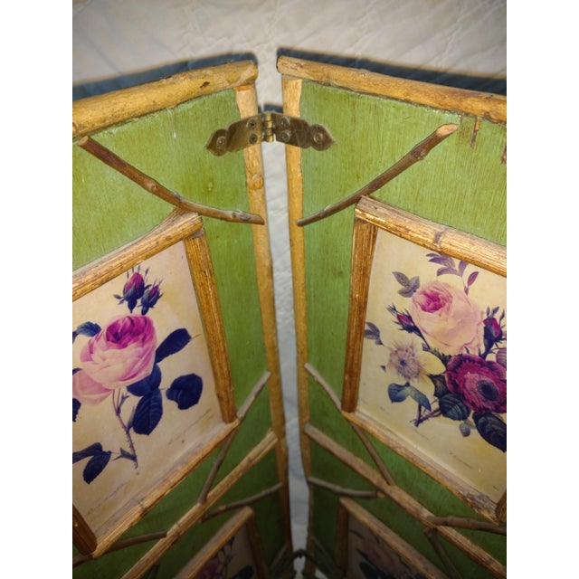 1900s Antique Chinoiserie Green Floral Bamboo Table Screen For Sale - Image 5 of 9