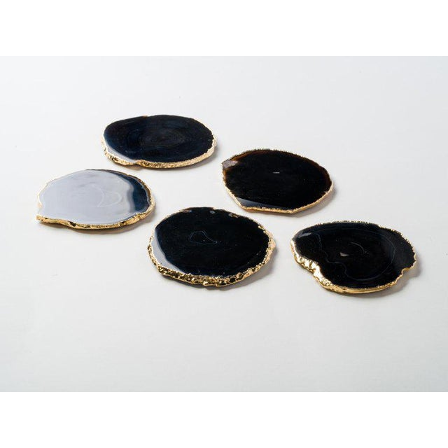 2010s Set of Eight Semi-Precious Gemstone Coasters in Black Onyx and 24-Karat Gold For Sale - Image 5 of 13