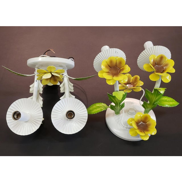 Italian Tole Yellow Daffodil Sconces - a Pair For Sale - Image 4 of 10