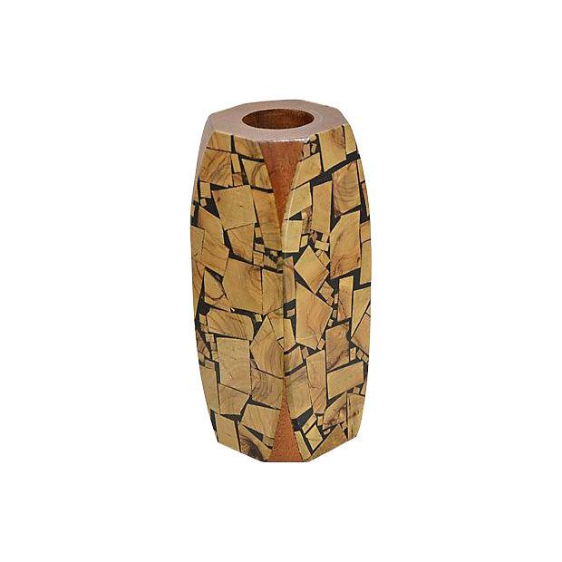 1960s Brutalist Mosaic Wood Vase For Sale