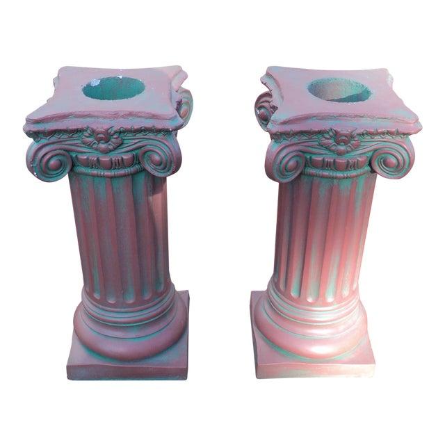 Antique Painted Concrete Corinthian Columns - A Pair For Sale