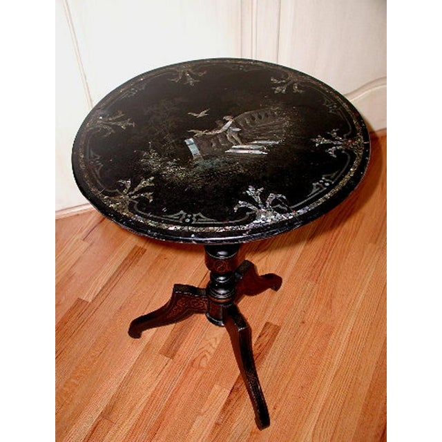 French French Napoleon III Papier Mache Tilt Table Inlaid C.1850 For Sale - Image 3 of 10