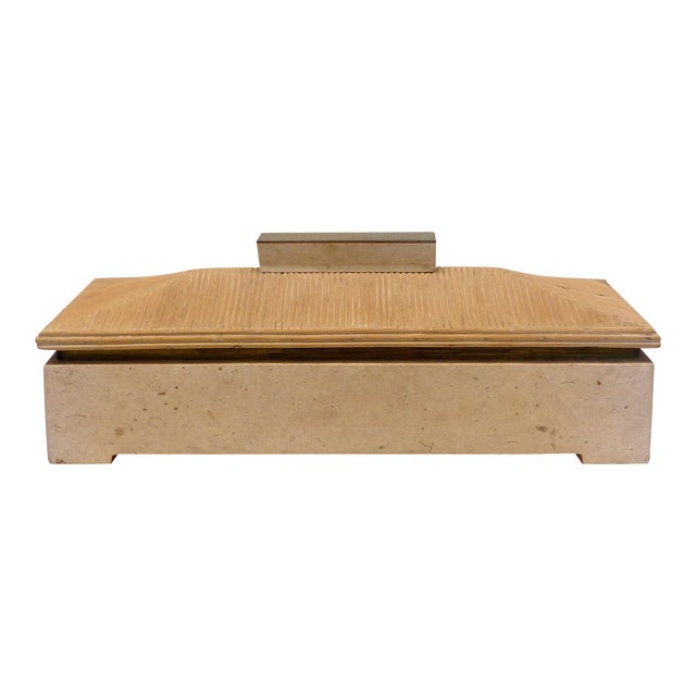 Over-Scale Maitland-Smith Box With Fossilized Stone, Reed and Brass For Sale