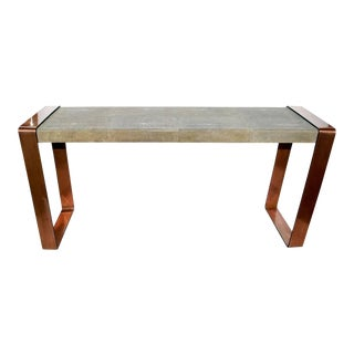 Shagreen Console Table With Copper Details For Sale