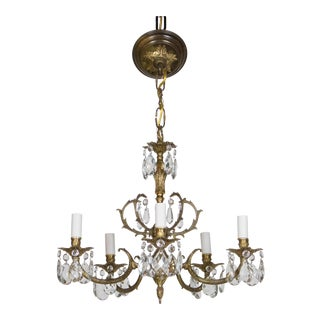 """20th Century Spanish Traditional Cast Brass and Crystal Chandelier - 19"""""""