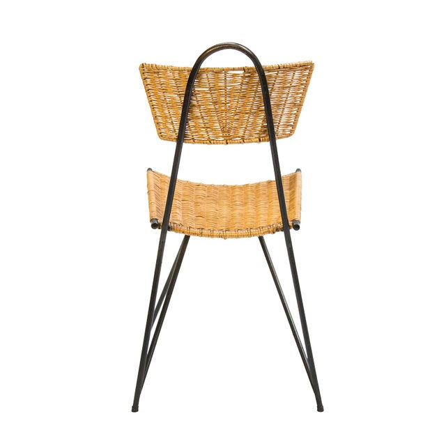 Rattan Chairs and Round Dining Table Set, France 1950's - 5 Pc. Set For Sale In Chicago - Image 6 of 8