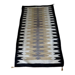 Vintage Mid-Century Handwoven Navajo Rug - 2′10″ × 5′ For Sale