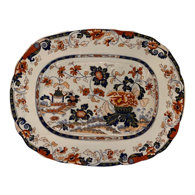 Mid-19th C. Minton Amherst Japan Stone China Imari Style Meat Platter For Sale
