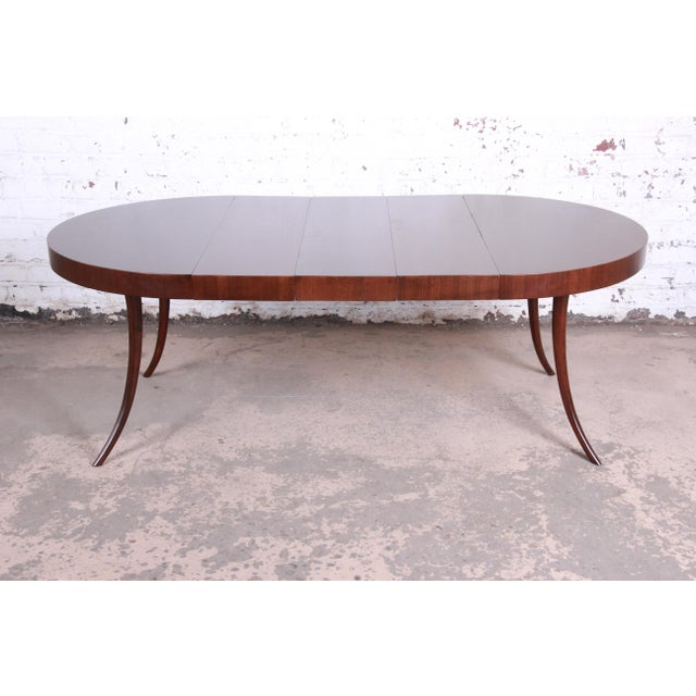 Robsjohn-Gibbings for Widdicomb Mid-Century Modern Walnut Saber Leg Extension Dining Table, Newly Restored For Sale - Image 13 of 13