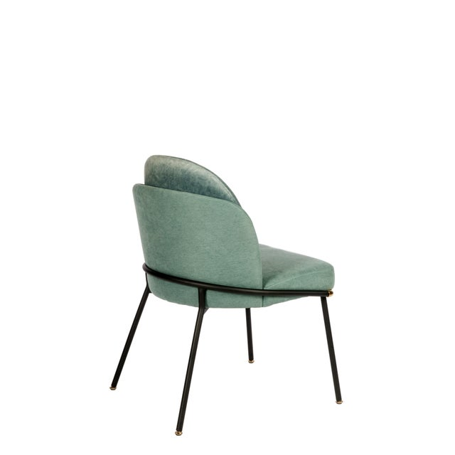 Hollywood Regency Modern Baron Sea Foam Dining Chair For Sale - Image 3 of 5