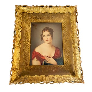 Antique Victorian Painting with Gold Frame For Sale