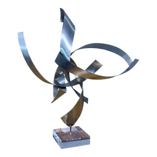 Ribbon Sculpture, Steel, Lucite, Wood, Borme 1980s For Sale