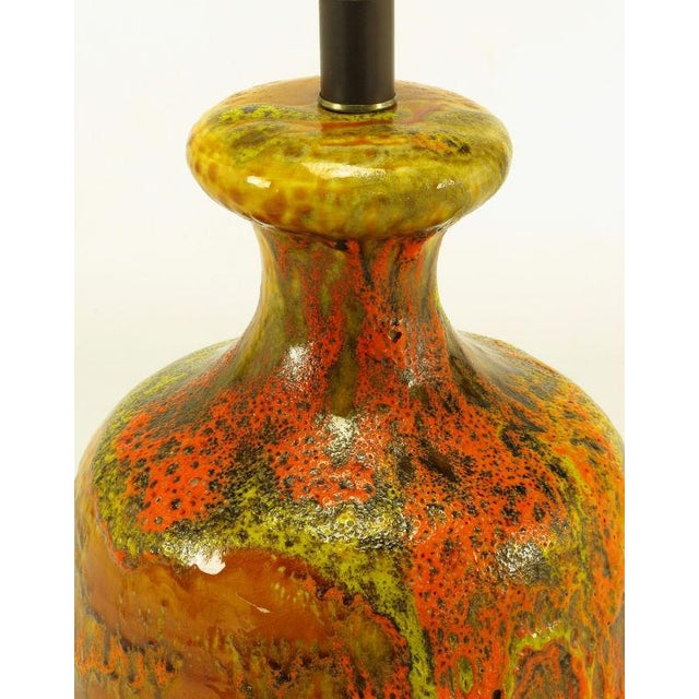 1950s Lava Red Drip Glaze Hand Thrown Ceramic Body Table Lamp For Sale - Image 5 of 6