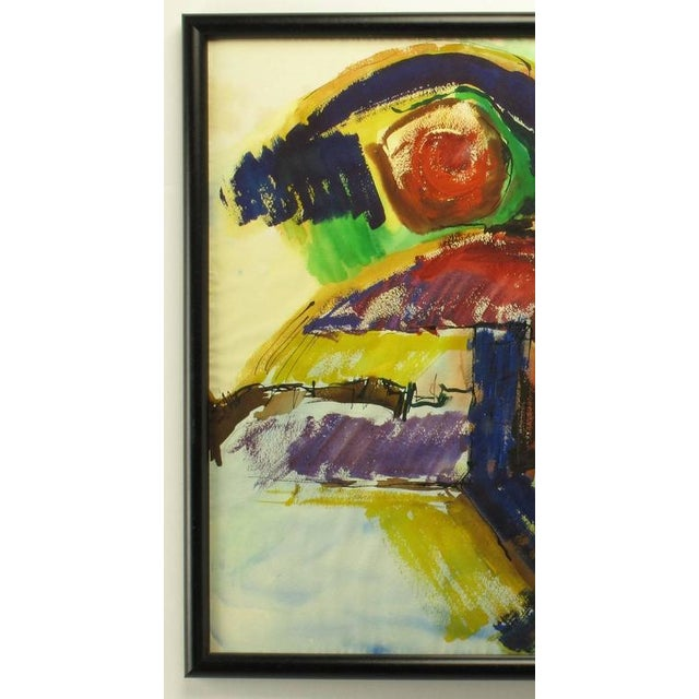Abstract Anne Jansen Water Color and Ink Abstract Painting, circa 1970 For Sale - Image 3 of 7