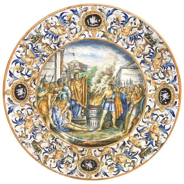 Large 19th Century Italian Faience Charger For Sale