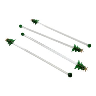 Christmas Tree Swizzle Stir Sticks, Set of 4 For Sale
