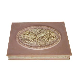 Vintage Handcrafted Pink White Incolay Stone Peacock Floral Design Jewelry Box For Sale