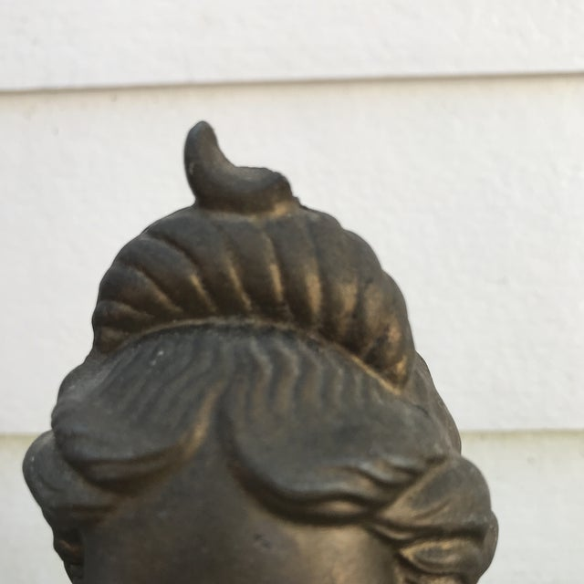 1930s Vintage Woman Bust Statue For Sale - Image 4 of 6
