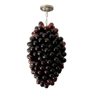 Red Wine Colored Handblown Glass Pendant Light For Sale