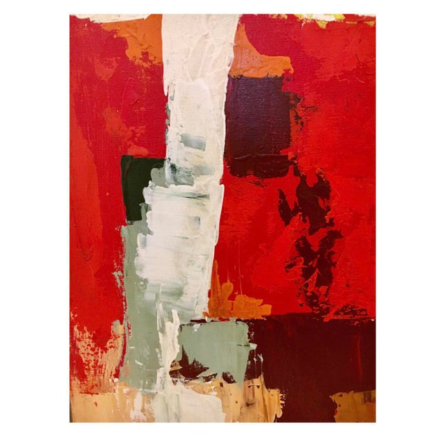 1970s 1970s Abstract Original Oil Red Abstract Oil on Canvas Painting by Reynolds For Sale - Image 5 of 6