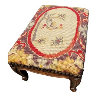 Vintage French Country Provincial Red Tapestry Needlepoint Footstool W a Duck Pattern For Sale