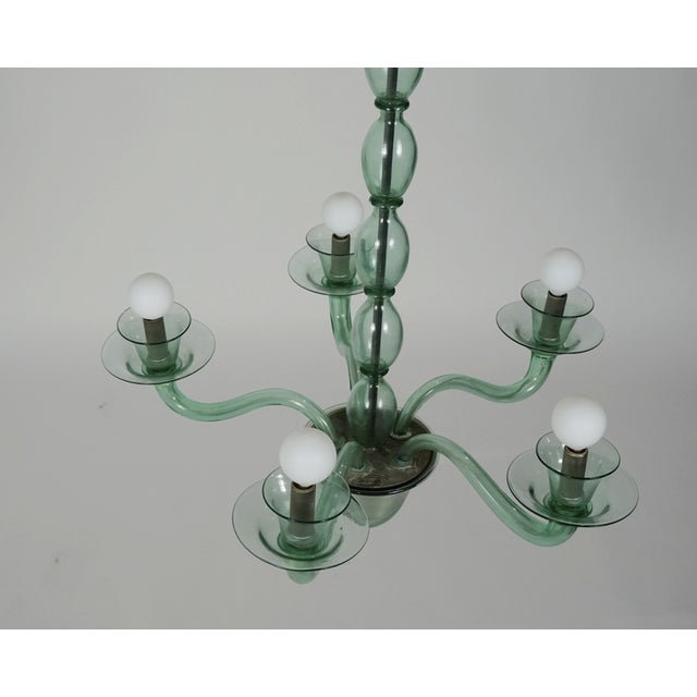Murano Mid-Century Modern Solid Aqua Murano Glass Chandelier For Sale - Image 4 of 11