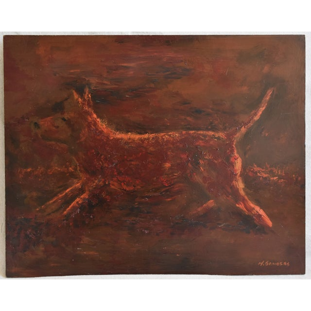 Orange Midcentury Folk Art Running Rusty Dog Oil Painting by M Sanders For Sale - Image 8 of 9