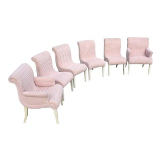 Sculptural Pink Tufted Dining Chairs - Set of 6