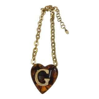 XL Vintage Givenchy Lucite Crystal Heart Necklace For Sale