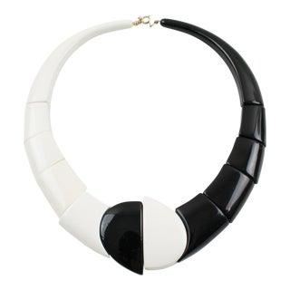 Art Deco Revival Auguste Bonaz Style Bi-Color Resin Geometric Choker Necklace For Sale