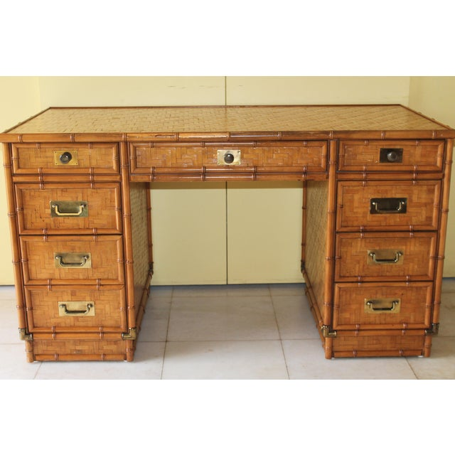 Stunning vintage Bamboo Writing Desk. Campaign style and solid brass hardware.
