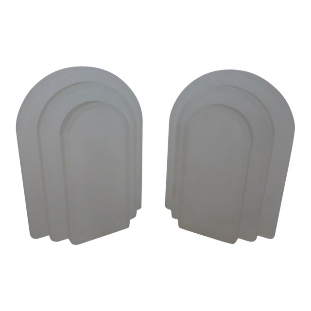 Vintage Frosted Lucite Bookends - A Pair For Sale