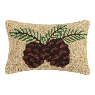 """Pine Cone Hook Pillow, 8"""" x 12"""" For Sale"""