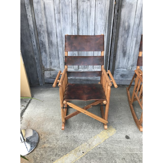 Campaign Style Folding Leather Rockers For Sale In Seattle - Image 6 of 8