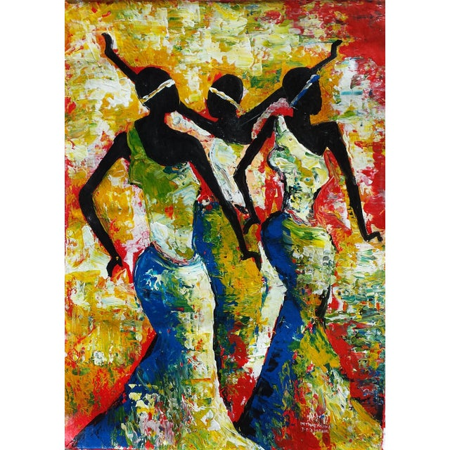 Large Rwanda African Dancing Women Acrylic Painting by Artist J d'Amour - Image 2 of 5