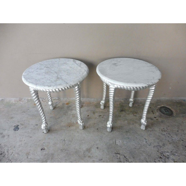 1970s Vintage Hollywood Regency Style Marble Topped Tables - a Pair For Sale - Image 4 of 9