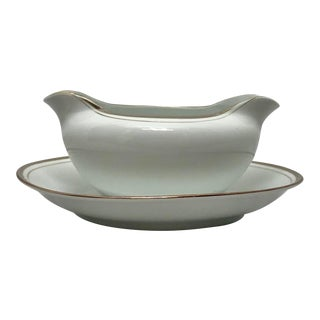 Royalton China Gravy Bowl With Attached Plate - 2 Pc. Set For Sale