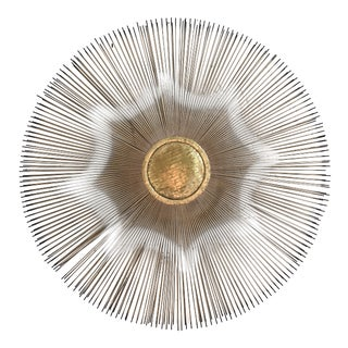 Devalf Mixed Metal Sunburst Wall Hanging, Signed For Sale