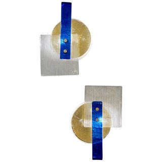 Italian Abstract Modern Gold Sapphire and Crystal Murano Glass Sconces - a Pair For Sale